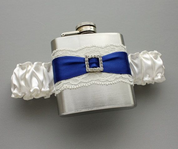 Ivory & Royal Blue FLASK GARTER  Something Royal by MoonshineBelle, $39.00