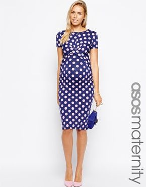 ASOS Maternity Exclusive Bodycon Dress In Spot Print With Cross Front