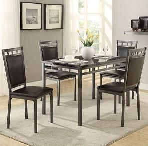 Olney 5 Piece Metal Frame Dinette Set With Faux Marble Top By Homelegance At Darvin Furniture