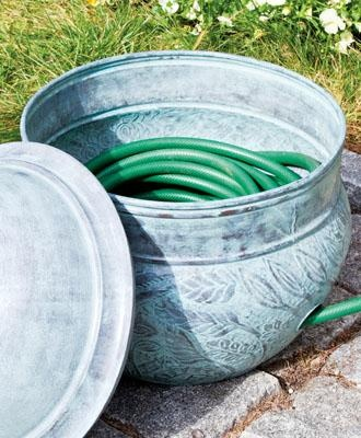 """Wales Hose Pot - Roomy enough to conceal 150' of hose, this hose pot enriches the yard and garden with style. Multiple drainage holes eliminate excess water and an ample side hole allows the hose to be easily connected to an outdoor faucet. Complemented by an optional easy on and off lid. Lid sold separately. Blue Verde Finish. 13"""" H, 20"""" W."""