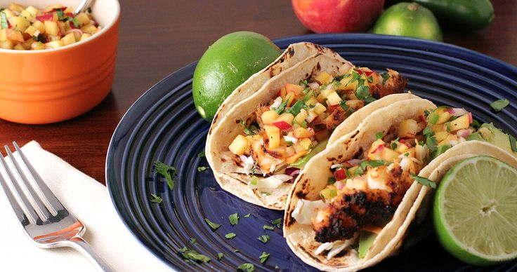 fish tacos peach salsa