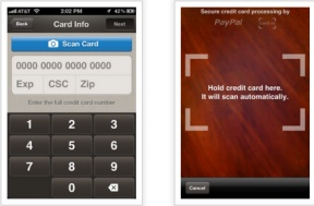 PayPal fights back at Square and Google Wallet.  Users can scan their credit card on the screen rather than buy a credit card reader.