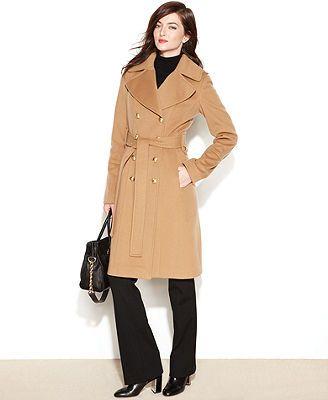 Anne Klein Coat, Double-Breasted Cashmere-Blend Belted Walker