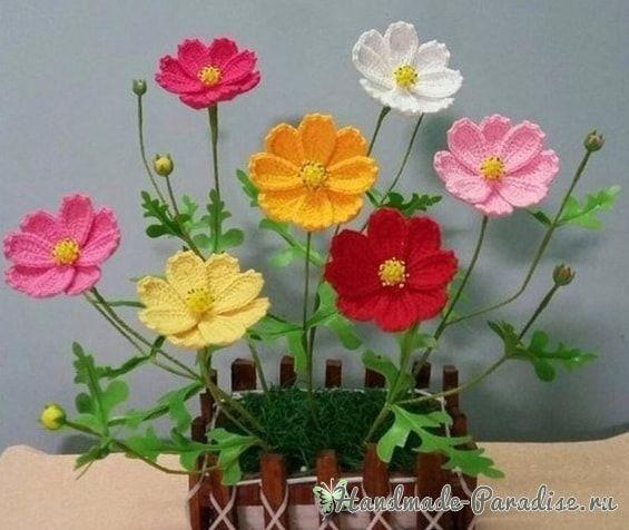 Весенние полевые цветы крючком. Схема. Скоро мы будем готовиться к 8 марта и данную идею можно использовать для создания букетов и цветов ручной работы.