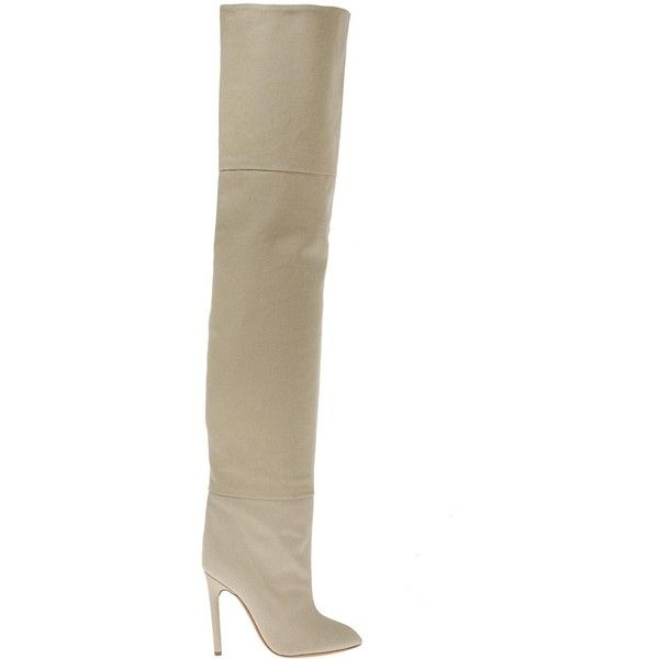 Yeezy Heeled over-the-knee boots (7175 MAD) ❤ liked on Polyvore featuring shoes, boots, brown over the knee boots, above the knee boots, thigh-high boots, pointy toe boots and above knee boots