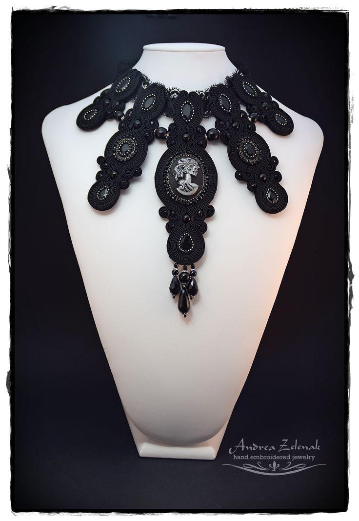 """""""Black Dame"""" - Soutache gothic necklace Andrea Zelenak"""