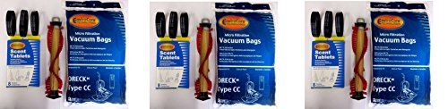 Oreck Vacuum Cleaner HKTXRF Bags To Fit Style CC, and all XL Upright Models, 8 CC Bags & 1 Brush & 3 Belts & 8 Scent Tabs (Pack of 3)