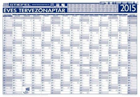 Éves tervezőnaptár fémléces 2015 ajándék kék színű filctollal