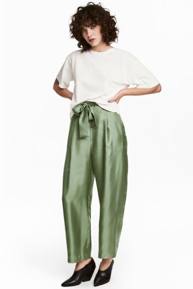 Wide silk trousers - Green - Ladies | H&M GB 1