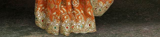 Orange Faux Georgette Saree with Blouse Online Shopping: SSK3766C
