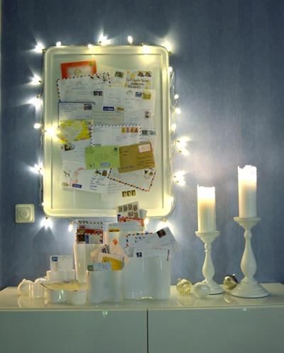 Annorlunda julpynt!   Lagom till första advent har jag skapat en minivariant av Tomtens postkontor - av kuvert från brev från barn, i hela världen, till Tomten: http://www.var-dags-rum.se/2012/12/annorlunda-julpynt.html