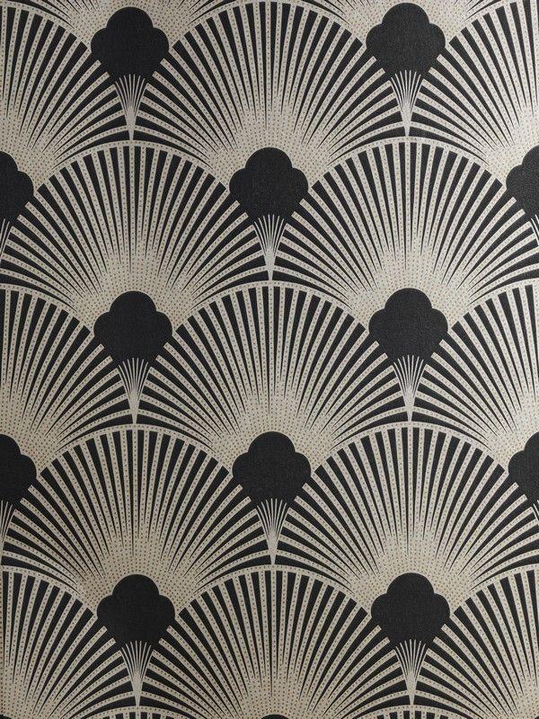 Art Deco Metallic Wallpaper Pattern | WS128 Wallpaper - Art Deco - Geometric Fan Motif - Surrey