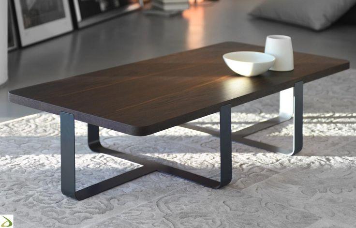 Tavolino rettangolare da salotto con piano in legno