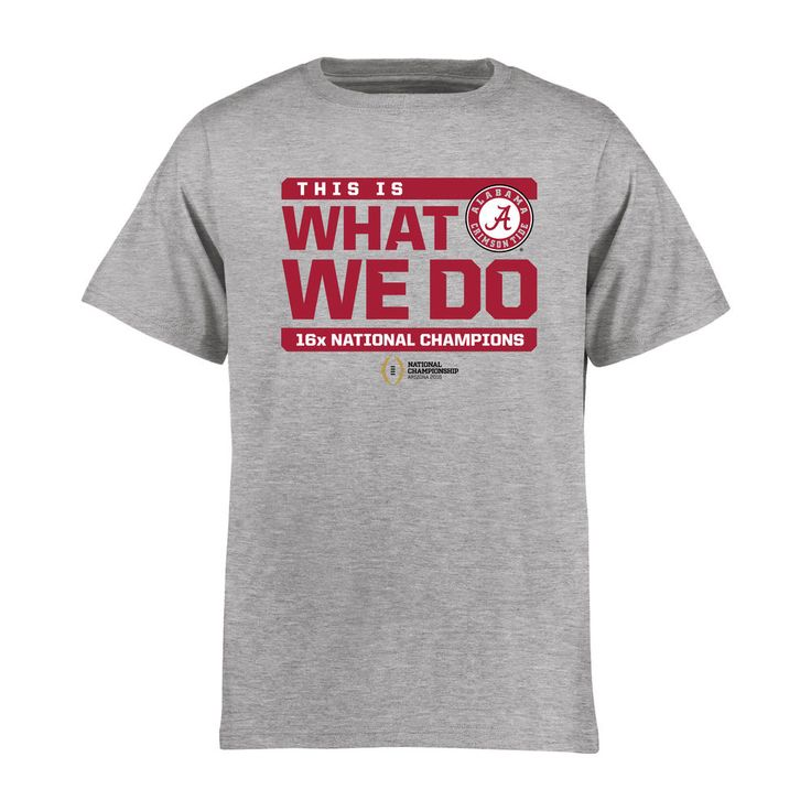 Alabama Crimson Tide Youth College Football Playoff 2015 National Champions Wide Receiver T-Shirt - Heather Gray