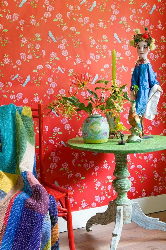 Wallpaper Room Seven Bird Branches Red