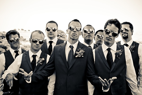 Groom in jacket. Groomsmen in vests. Code will be in his blues, but this is an idea..
