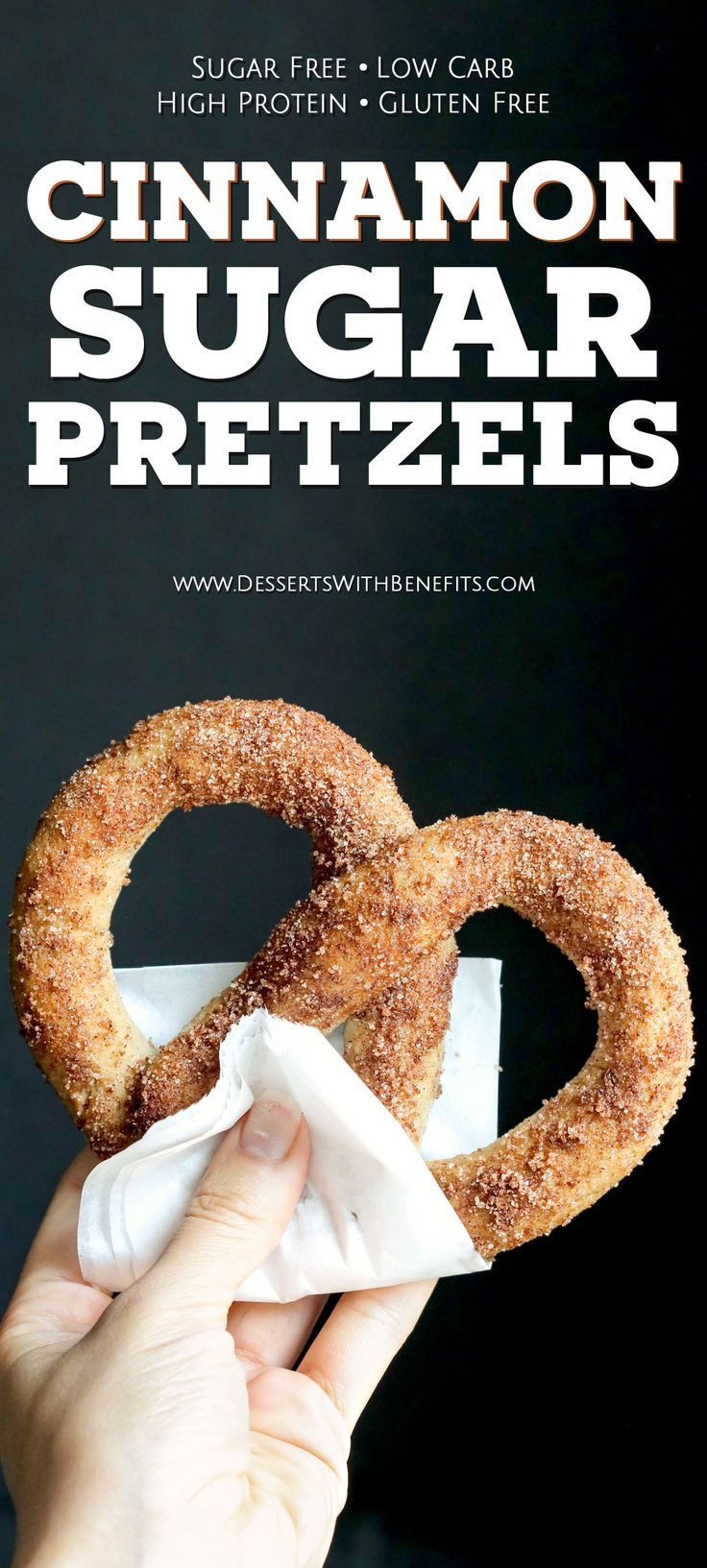 These Healthy Low Carb and Gluten Free Cinnamon Sugar Soft Pretzels are so fluffy and delicious, you'll never believe they're sugar free, low carb, high protein, and high fiber! -- Healthy Dessert Recipes with sugar free, low calorie, low fat, high protein, gluten free, dairy free, vegan, and raw options at the Desserts With Benefits Blog (www.DessertsWithBenefits.com)