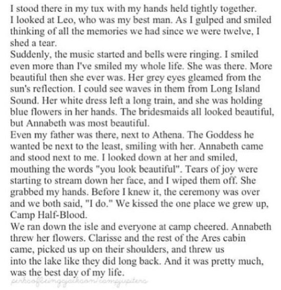 Annabeth and Percy's wedding <<< IM CRYING. I -I JUST CANT! ISJSJWOKSNANSBSBDND