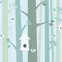Fototapet - Birdforest - Green