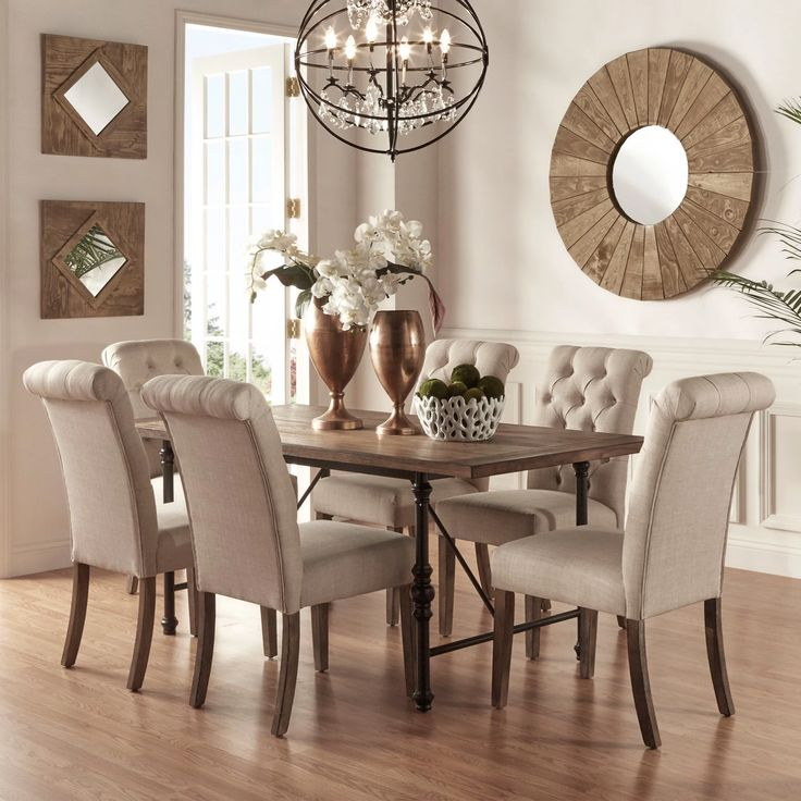 Homelegance 7 Piece Industrial Dining Set with Beige Tufted Chairs | from hayneedle.com