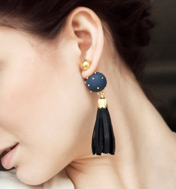 Blue Ear Jacket, Stud Earrings, Tribal Earring, Tassel Earring, Ear Jacket Earring, Front Back Earring, Tassel Earring, Double Pearl Earring