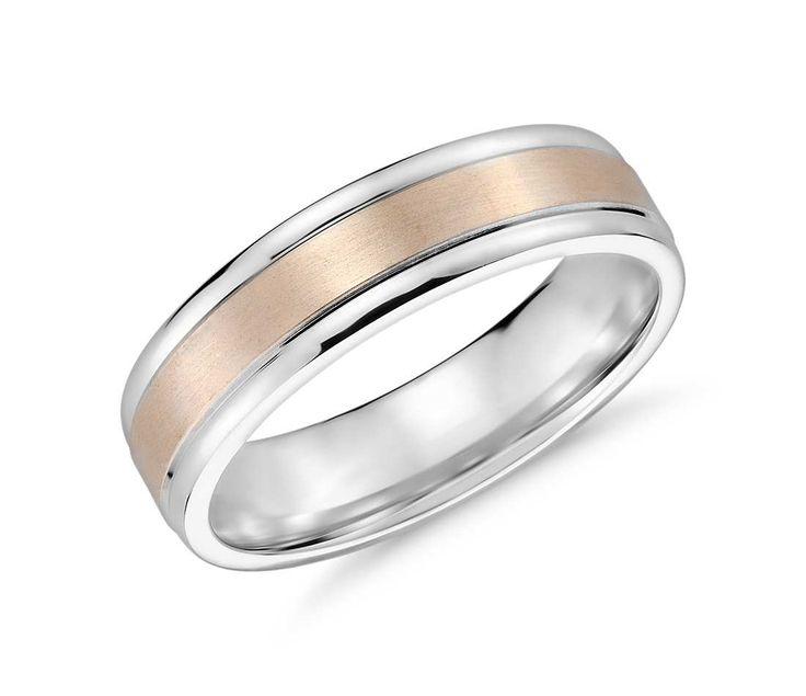 brushed inlay wedding ring in 14k white and rose gold 6mm - Wedding Ring Man