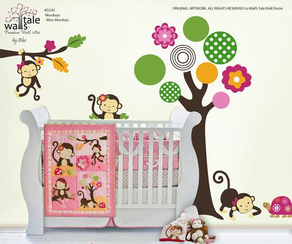Miss Monkey stickers, Girl Monkeys decal based on Monkey bedding (d295) via Etsy