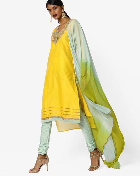 1c8ca317dc Buy AJIO Women Yellow Churidar Kurta with Contrast Dupatta Set | AJIO