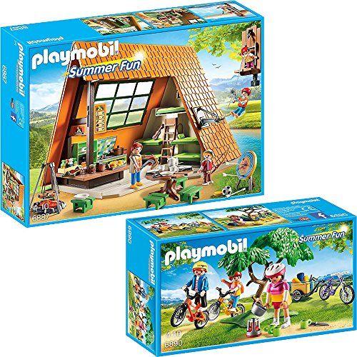 PLAYMOBIL® Summer Fun set en 2 parties 6887 6890 Grande Camp de Vacances + Tour de vélo tout-terrain: Set: 6887 Grande Camp de Vacances…