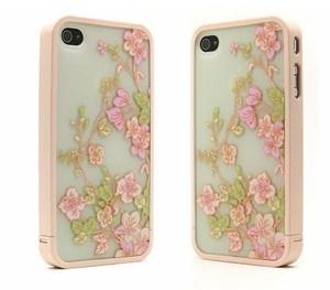 Schutz Hülle Tasche Cover Blumen Case Kunststoff Schutz Schale iPhone 4/4S neu