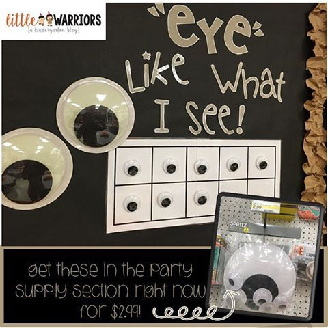 This idea was inspired by an idea from @teachertothecore  #eyelikewhatisee This is a whole class incentive. Each time the entire class is on task or doing what they are supposed to be doing, they earn an eyeball! I just printed out a big 10 frame and put velcro on it. When they get 10 eyeballs, they win a class reward. I found THE perfect eyeball pack in the party supply section!!!!! It comes with 2 giant eyeballs and 6 Big Eyes for $2.99!!!!! #score - @littlekinderwarriors…