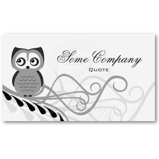 Owl Swirl (Black And White) Business Card Templates