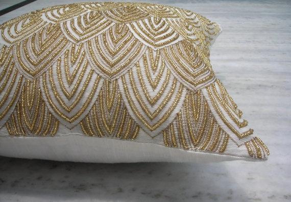 Beaded Gold Cushion Textiles Pillows Bedding Linens