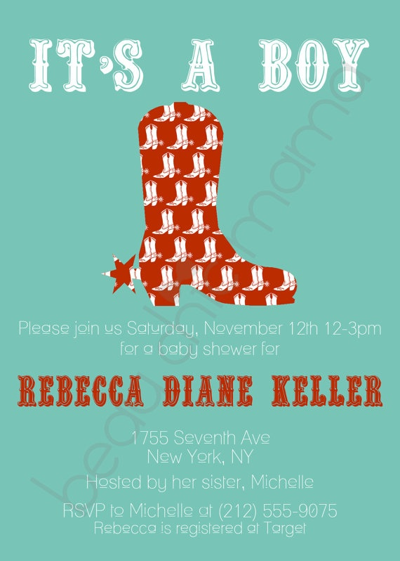 Printable Print Your Own It's a Boy Cowboy Boot Aqua Red Baby Shower Invitation