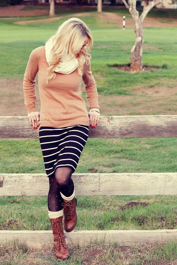 Stripes & polka dots + boots