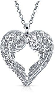 Bling Jewelry Sterling Silver Pave Cz Heart Shaped Guardian Angel Wing Pendant Rhodium Plated Necklace 18 Inches.