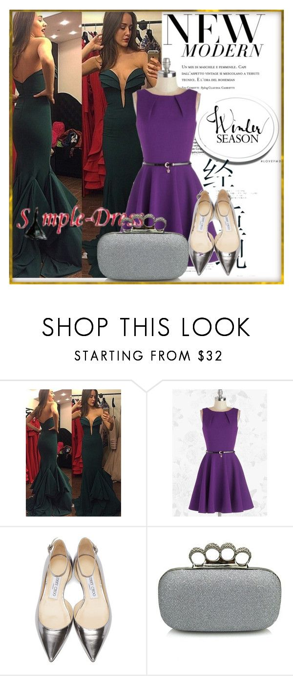 """Simple-dress 18"" by ell-1997 ❤ liked on Polyvore featuring Jimmy Choo and vintage"