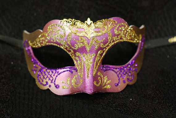 Maschera per bambina di Venezia - maschera da principessa viola con glitters B03