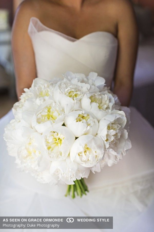 beautiful white peony wedding bouquet idea for the bride