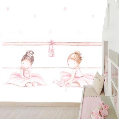 Decoraci n infantil il mondo di alex papel mural efecto pintado a mano bailarinas iv - Papel pintado a mano ...