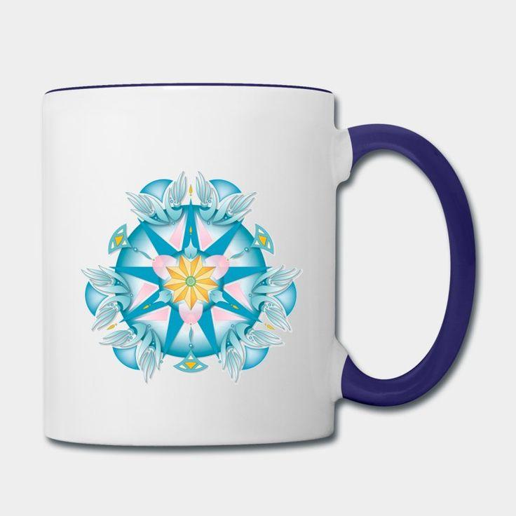 Mandala étoilé #lesyeuxfertiles sur #tasse céramique bicolore (blanc/bleu marine). Douce harmonie de bleus et de rose, avec un cœur orangé et vert. Créé sur la base du triangle équilatéral (3) et de l'ennéagone (9). Un motif puissant et apaisant.
