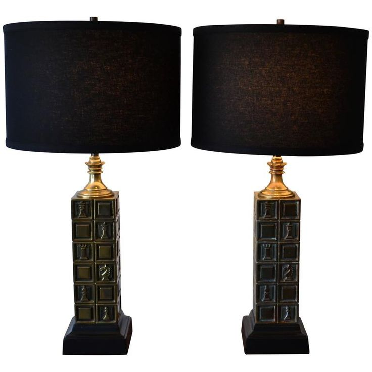 Pair of brass chess piece table lamps by laurel 1950s