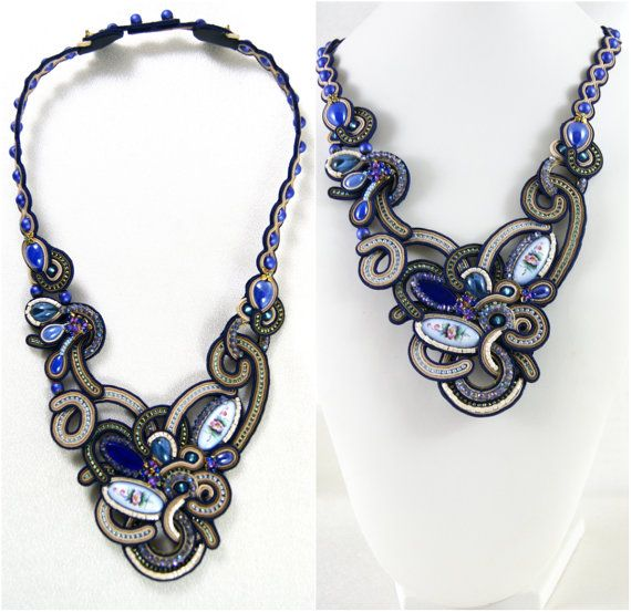 Soutache Necklace / Rostov finift creme brown navy by BeadsRainbow