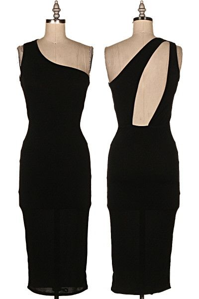 Expert-tease One Shoulder Cutout Midi Dress - Black