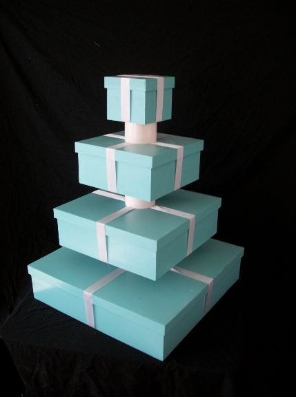 Tiffany Blue Box Custom Cupcake Tower to put your Breakfast at Tiffany's cupcakes on.