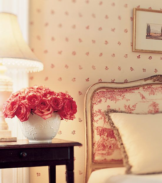Thibaut Small Print Resource wallpaper behind Toille upholstered bed.