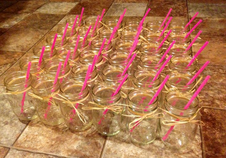Country drinking jars Pink straws for girl baby shower, do blue straws for boys! :)