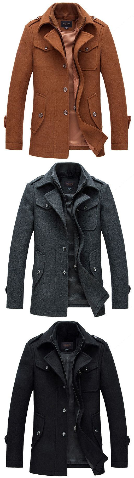 US$65.58 Mens Winter Gentlemanlike Coat Single-breasted Warm Turndown Collar Outwear#jacketscoats #fashion winter#