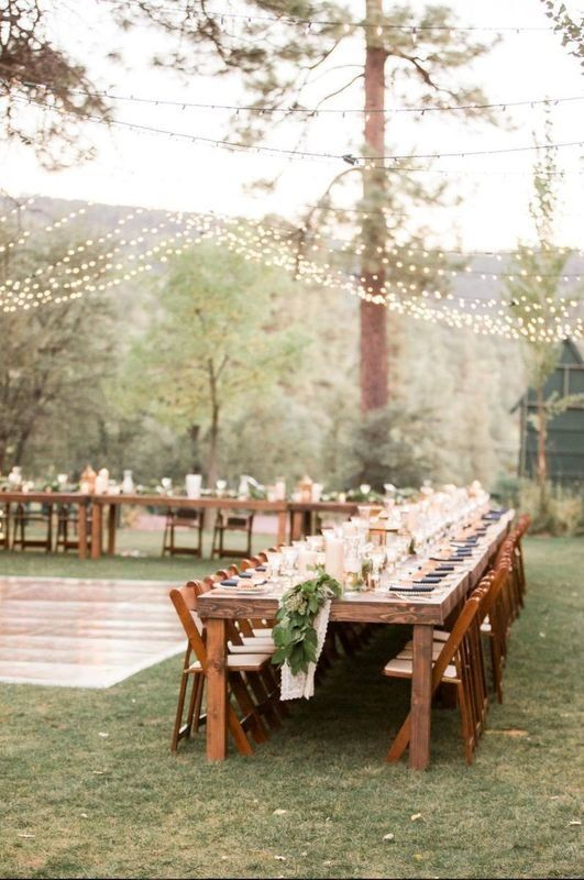 Outdoor Wedding Reception Decor Wooden Reception Tables The