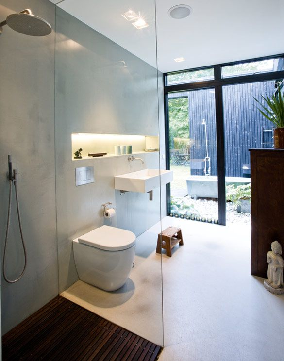 Simple glass wall shower bathroom with walkout to outdoor bath and shower